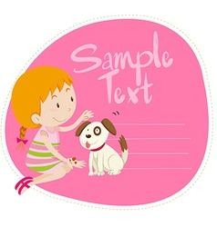 Border design with girl and dog vector image vector image