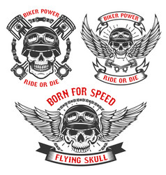 Born for speed set of biker skulls in helmets vector