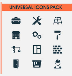 Building icons set collection of cogwheel stair vector