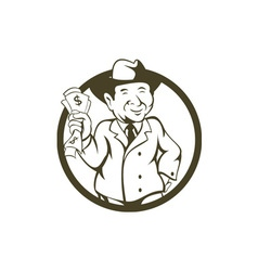 Businessman fedora hat bank notes circle cartoon vector