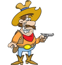 Cartoon cowboy holding a pistol vector image