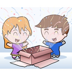 children and a present vector image vector image