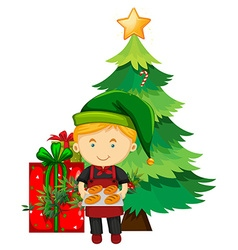 Christmas theme with baker and tree vector