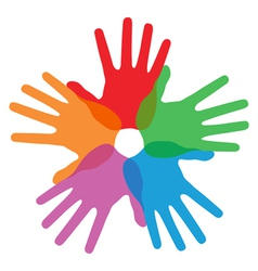 Circle of colorful hand prints vector image vector image