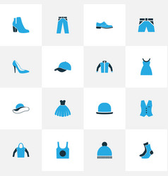 Clothes colorful icons set collection of jacket vector