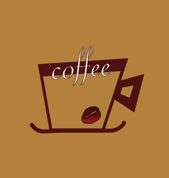 coffee with beans color vector image vector image