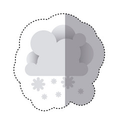 color sticker with cumulus of clouds and snow fall vector image