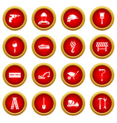 Construction icon red circle set vector