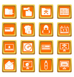 Criminal activity icons set orange vector
