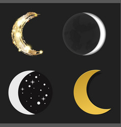 Different moon nature cosmos cycle satellite vector