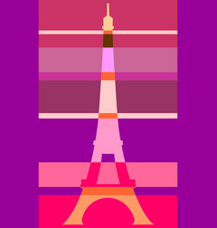 eiffel tower in paris gradient stripes vector image vector image