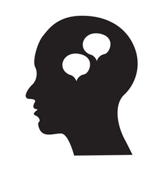 flat black brain icon vector image