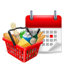 Food basket and calendar vector image