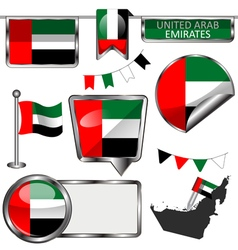 Glossy icons with united arab emirati flag vector