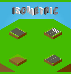 Isometric road set of sand footer without strip vector