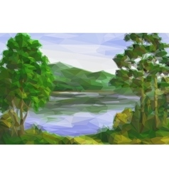 Landscape trees and lake vector