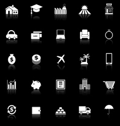 Loan icons with reflect on black background vector