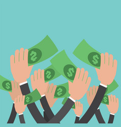 many hands reach money vector image vector image