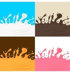 Milk Cream Juice and Chocolate Splash vector image