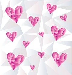 Poly hearts and poly background vector