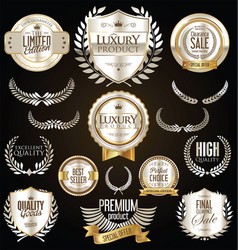 Premium and luxury silver and black retro badges vector
