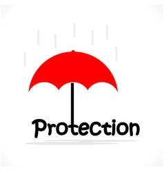 Protection title texts with the red umbrella vector