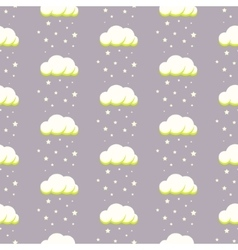 Rainy clouds on violet starry background vector