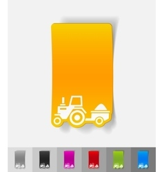 realistic design element tractor with trailer vector image vector image