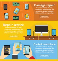 Repair cellphone banner horizontal set flat style vector