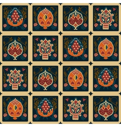 Seamless ethnic pattern with tropical flowers vector image vector image