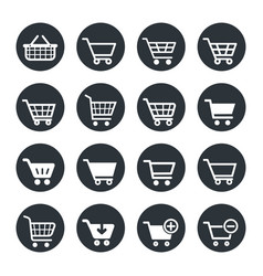 shopping carts icon set vector image vector image