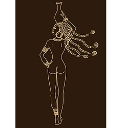 Silhouette of beautiful african tribal nude girl vector
