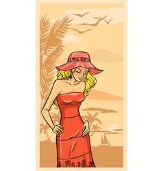 Summer beautiful girl in red dress and floppy hat vector image vector image