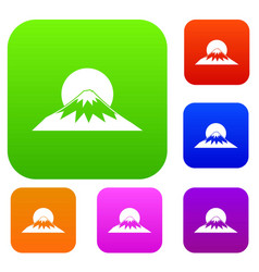 sun and mountain set collection vector image vector image