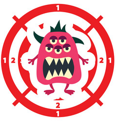 target with monster flat style pink color vector image