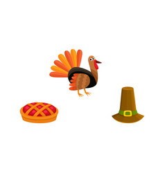 thanksgiving set - turkey pie and pilgrim hat vector image vector image