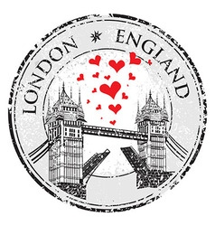 Tower bridge grunge stamp with hearts london hand vector