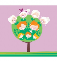 triple generation family tree vector image vector image