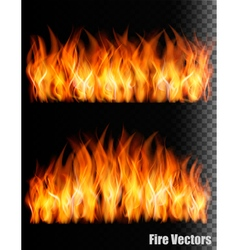 Two banners with fire on black background vector image