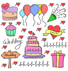 Various element wedding party in doodles vector
