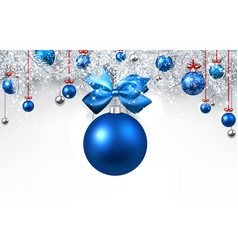 white background with blue christmas ball vector image vector image