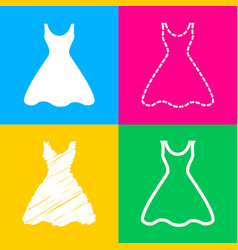 Woman dress sign four styles of icon on four vector