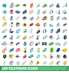 100 telephone icons set isometric 3d style vector image vector image