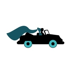 Bride and groom on car icon vector