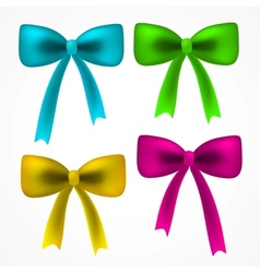 Realistick set of colorful satin bow vector
