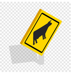 Cattle traffic warning isometric icon vector