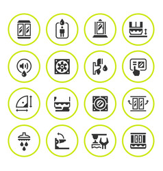 Set round icons of shower cabin vector