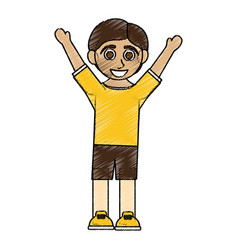 Color pencil caricature boy with open arms up vector