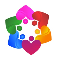 Teamwork hearts logo vector