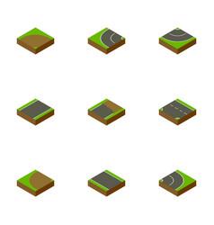 Isometric road set of sand asphalt downward vector
